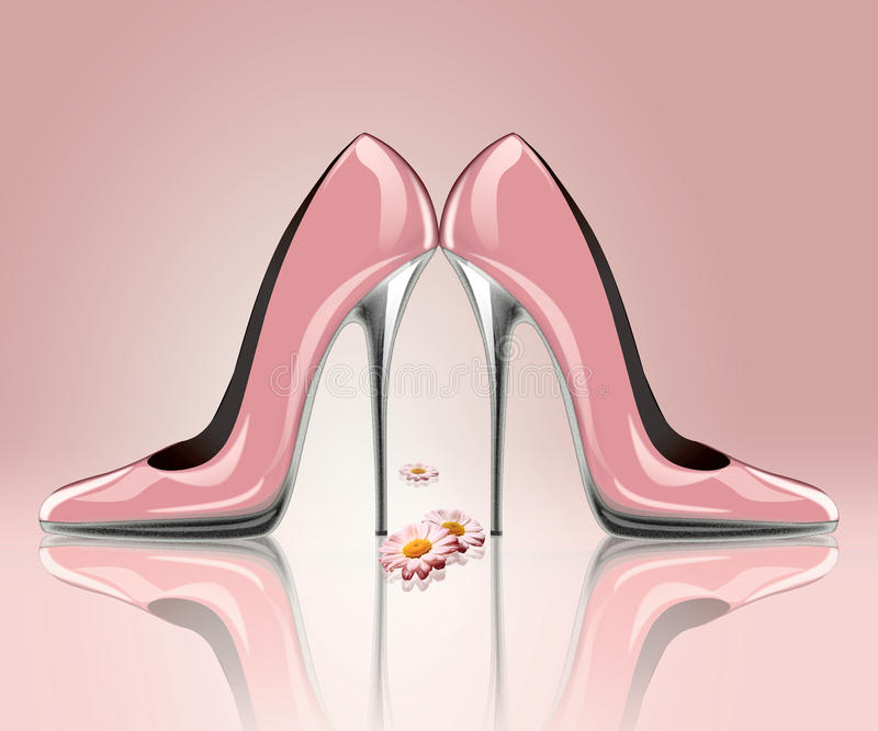 Scarpe eleganti del tacco alto con i fiori royalty illustrazione gratis