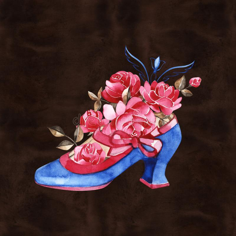 Scarpe femminili con le rose Modo e stile, abbigliamento ed accessori calzatura Illustrazione per una cartolina o un manifesto illustrazione di stock