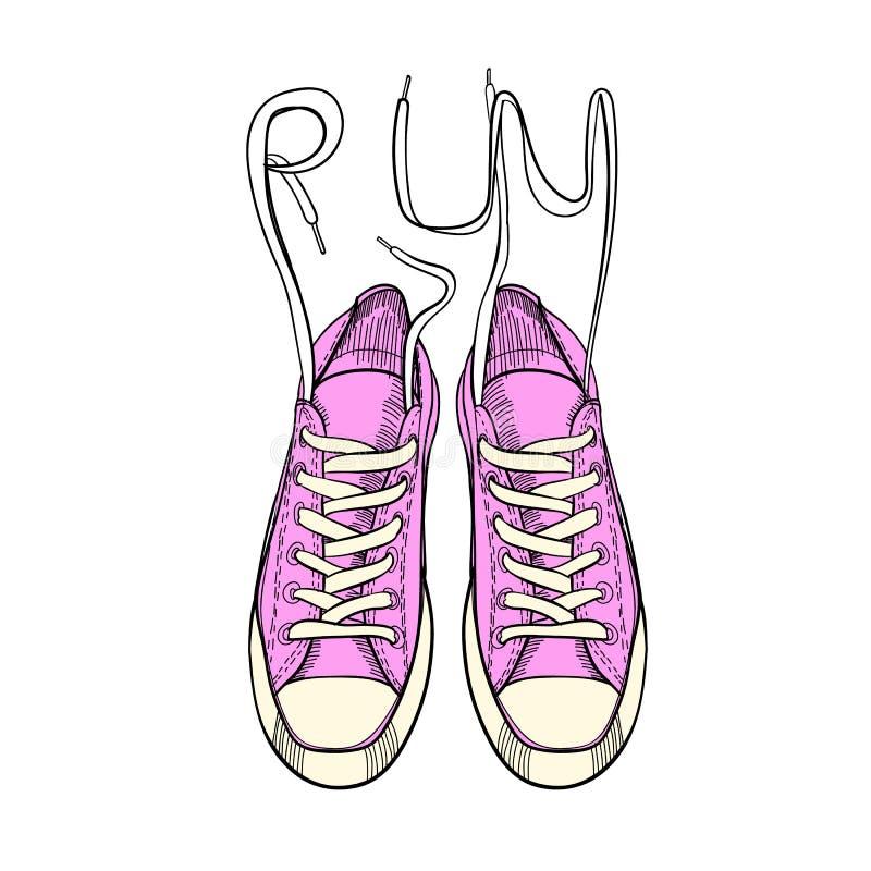 Scarpe grafiche disegnate a mano di sport, scarpe da tennis, istruttori per il funzionamento su fondo bianco Oggetto isolato prog illustrazione di stock
