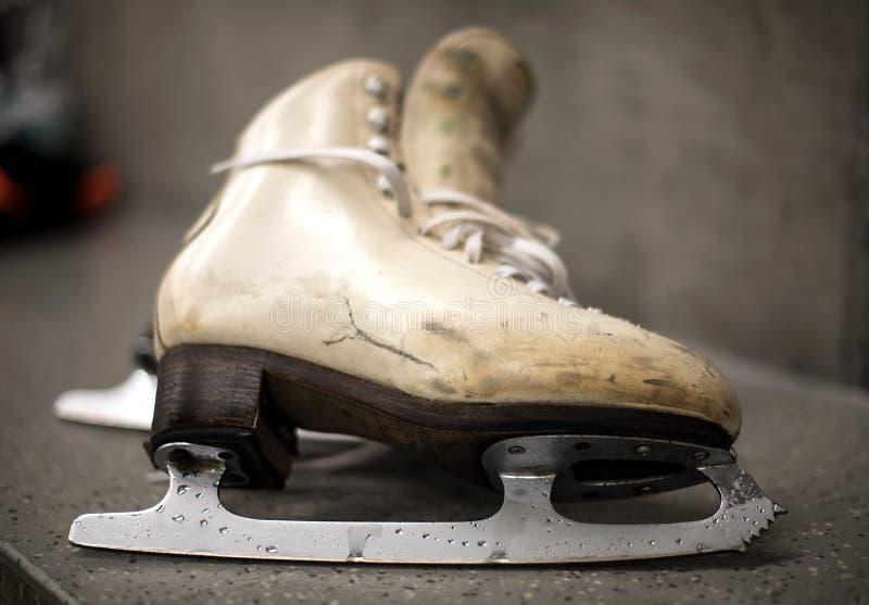 Scarpe professionali di pattinaggio su ghiaccio nello spogliatoio immagine stock libera da diritti