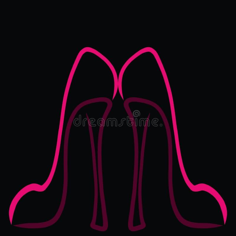Scarpe rosa delle donne con i tacchi alti stessi illustrazione di stock