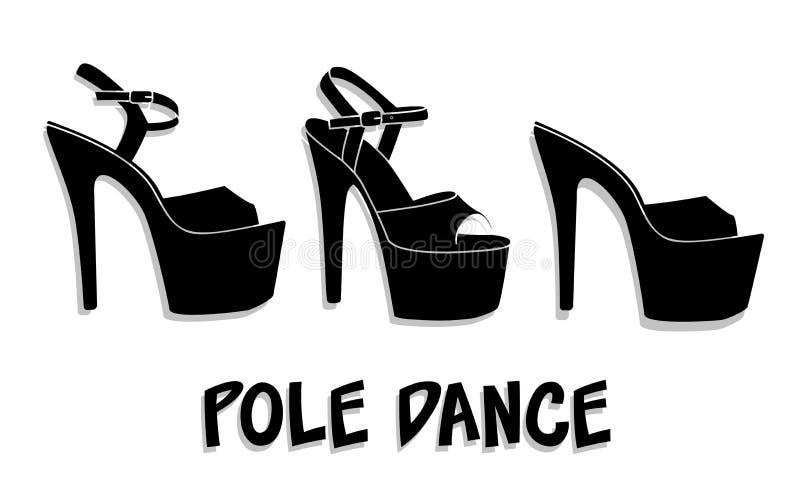 Scarpe sexy di ballo del palo di vettore I tacchi alti modellano per la striptease, stivali gialli neri a strisce del ballerino e illustrazione di stock