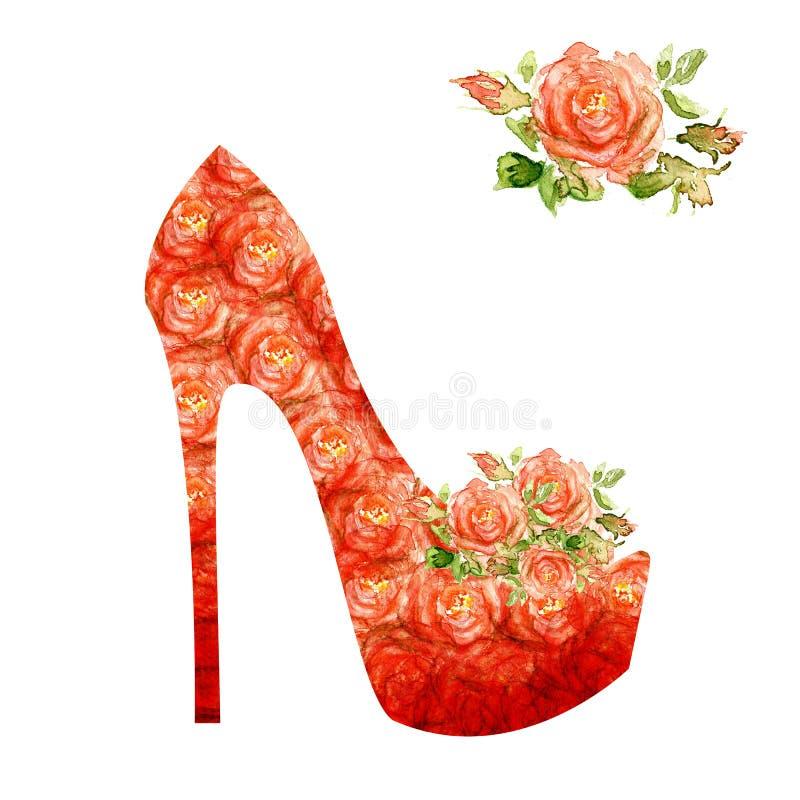 Scarpe su un tacco alto decorato con le rose. illustrazione vettoriale