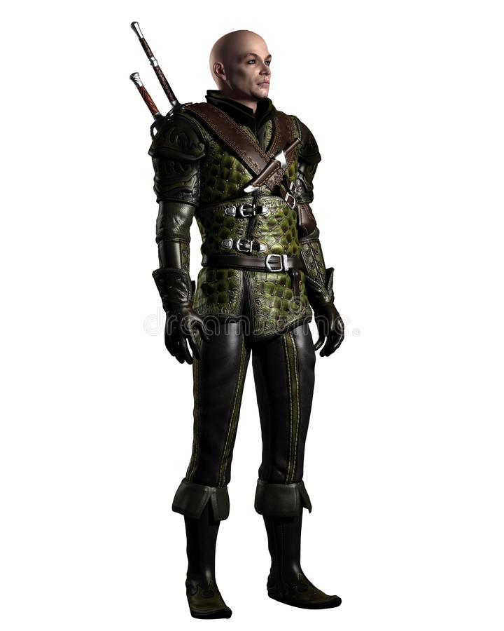 Scarred Fantasy Ranger Character vector illustration