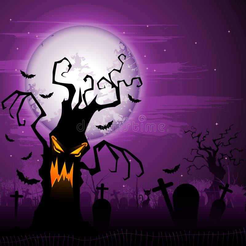 Scary δέντρο αποκριών διανυσματική απεικόνιση