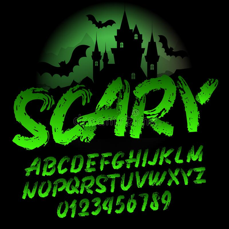 Scary alphabet font. Brush stroke letters and numbers. Handwritten vector typography for your design royalty free illustration