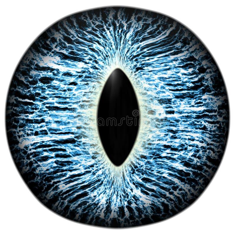 Scary animal blue eye with purple colored iris, detail view into eye bulb. Animal blue eye with purple colored iris, detail view into eye bulb stock illustration
