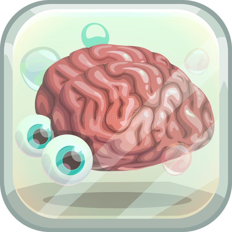Scary App Icon With Creepy Brain In The Tank. Stock Vector ...