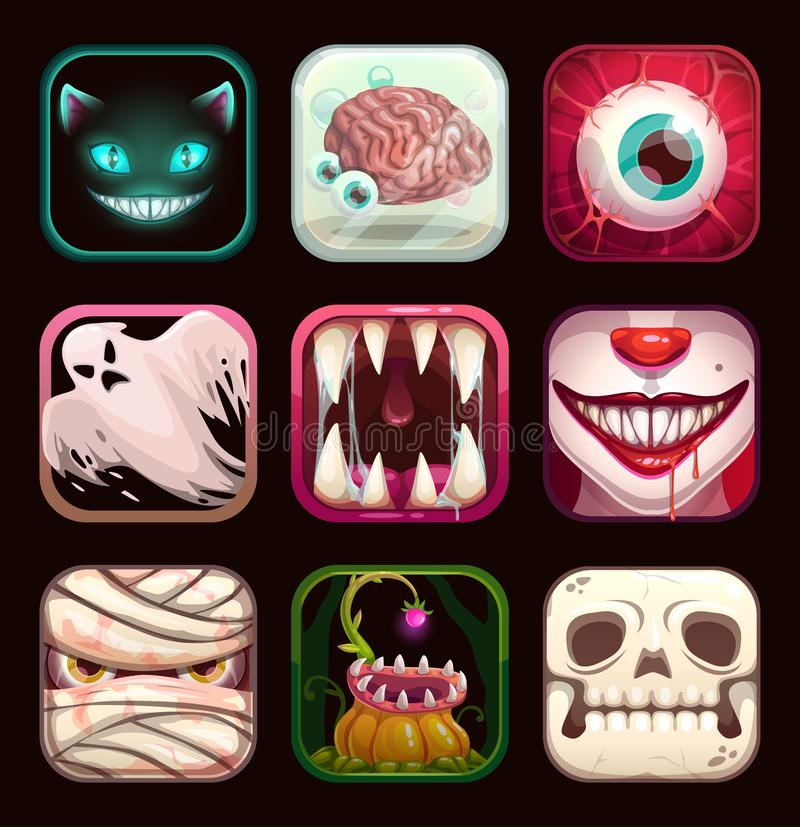 Scary app icons on black background. Creepy mobile game logo templates. Scary app icons on black background. Creepy mobile game logo templates collection stock illustration