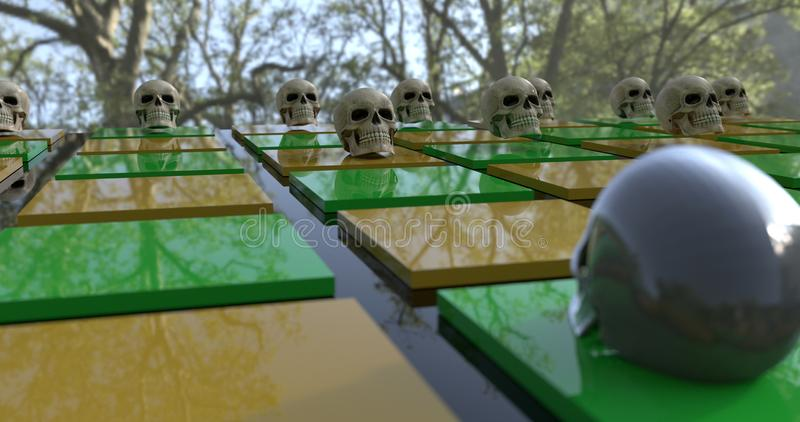 Close-up view of a Background with a game board full of skulls. vector illustration
