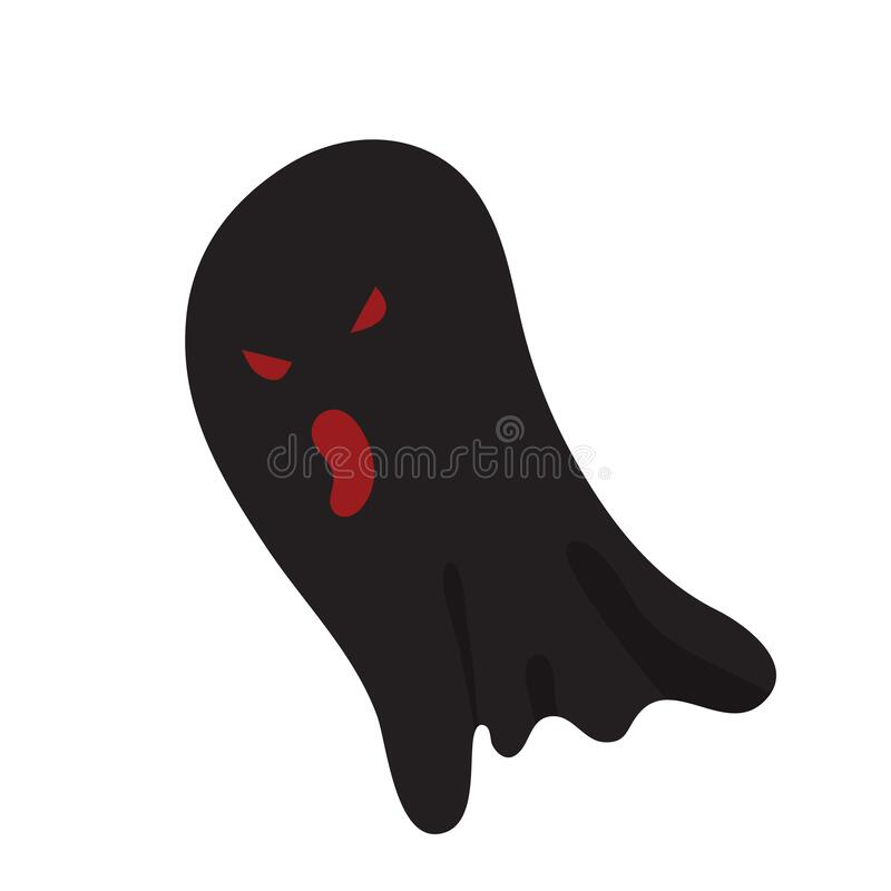 Free Scary Black Ghost With Red Eyes Cartoon Illustration Royalty Free Stock Image - 194990336