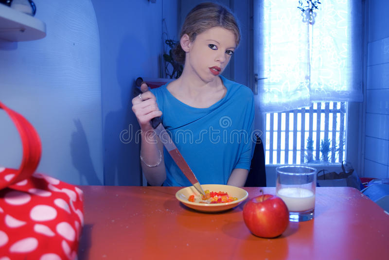 Download Scary blond girl stock image. Image of knife, plastic - 21611451
