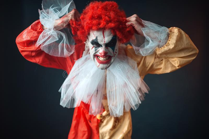 Scary bloody clown tears his hair, jerk in anger. Man with makeup in carnival costume, crazy maniac stock image