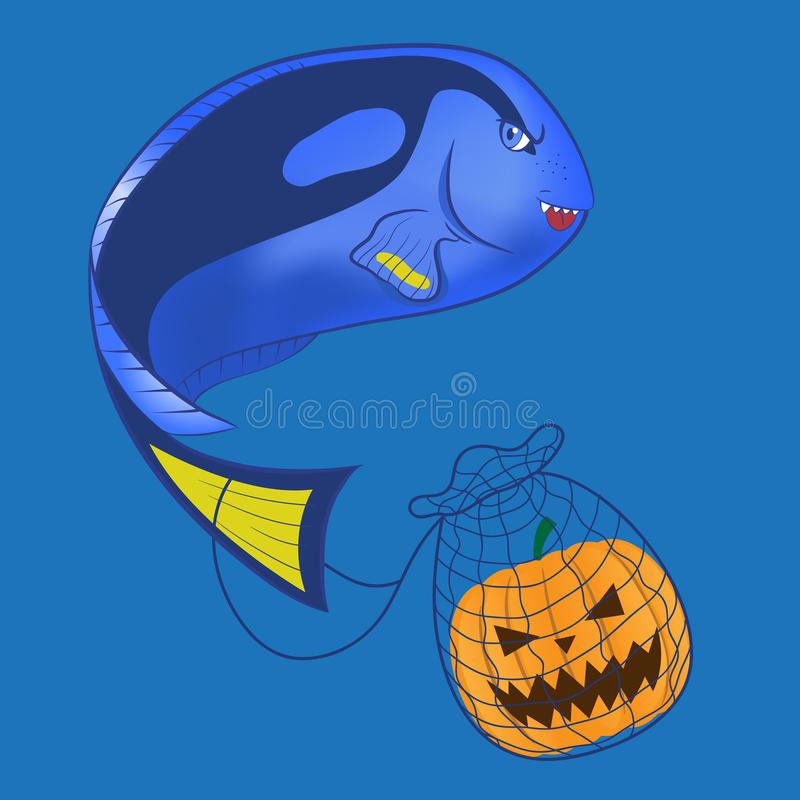 Scary Blue tang. Illustration of a scary blue tang stock illustration