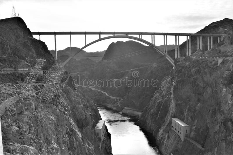 Scary bridge construction between mountains stock images