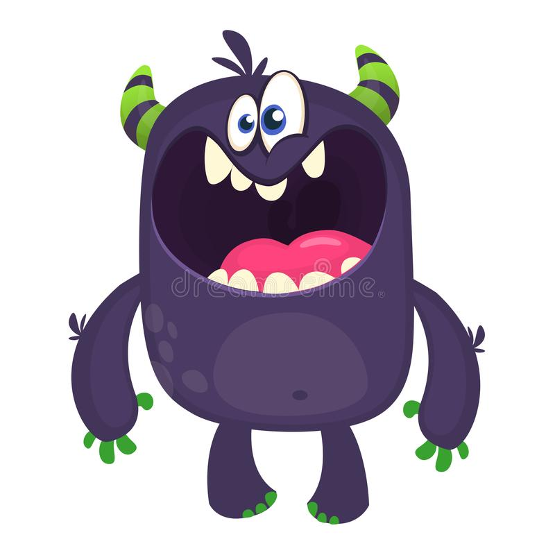 . Scary cartoon black monster screaming. Yelling angry monster expression. Vector illustration. Scary cartoon black monster screaming. Yelling angry monster vector illustration