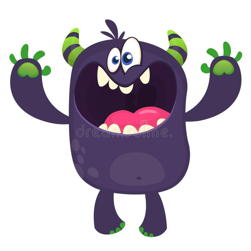 Scary cartoon black monster screaming. Yelling angry monster expression. Vector illustration. Scary cartoon black monster screaming. Yelling angry monster stock illustration