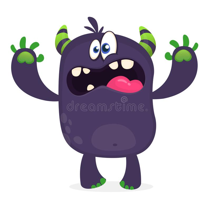Scary cartoon black monster screaming. Yelling angry monster expression. Vector illustration. Scary cartoon black monster screaming. Yelling angry monster royalty free illustration