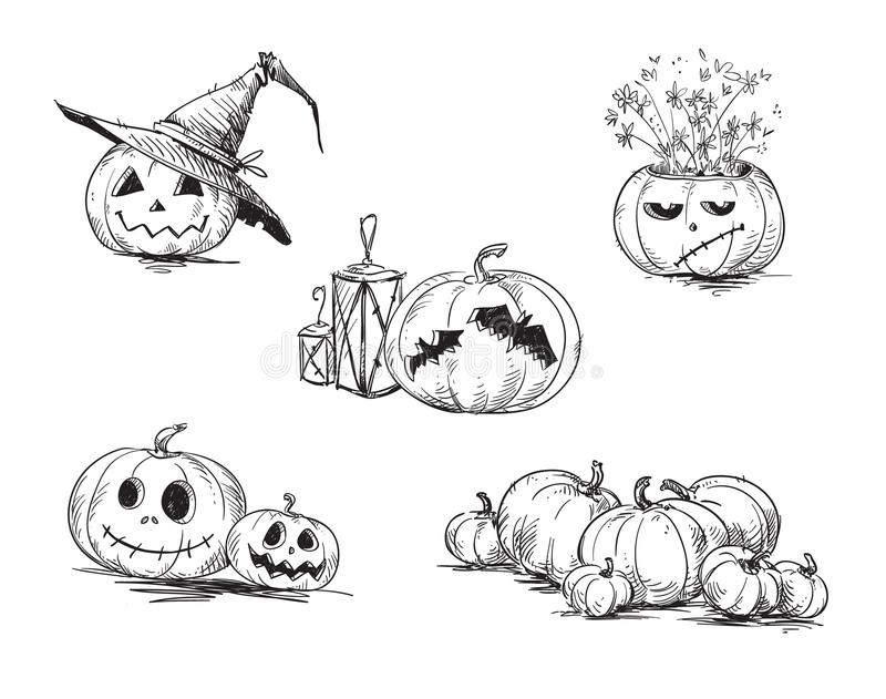 Scary carved Halloween pumpkins. Hand drawn stock illustration
