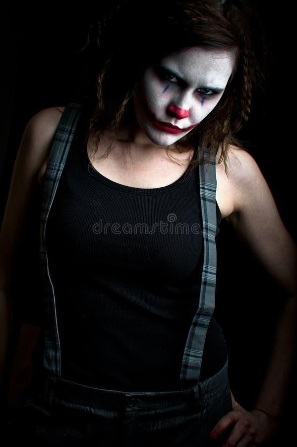 Download Scary clown stock photo. Image of girl, harlequin, dark - 12269288