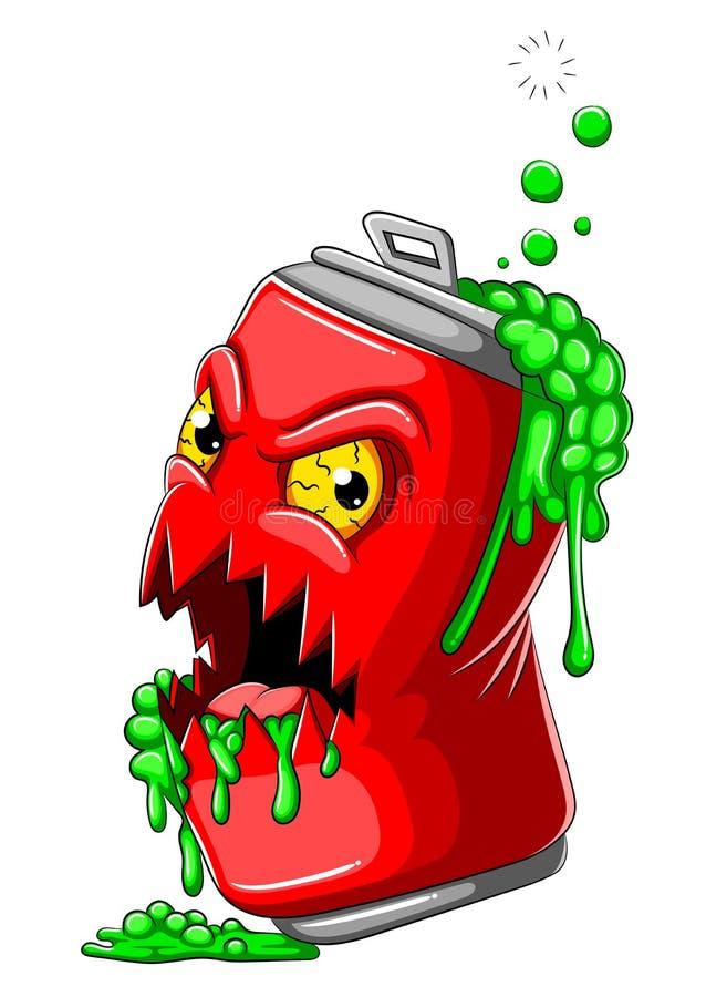 Scary cola tin zombie cartoon royalty free stock images