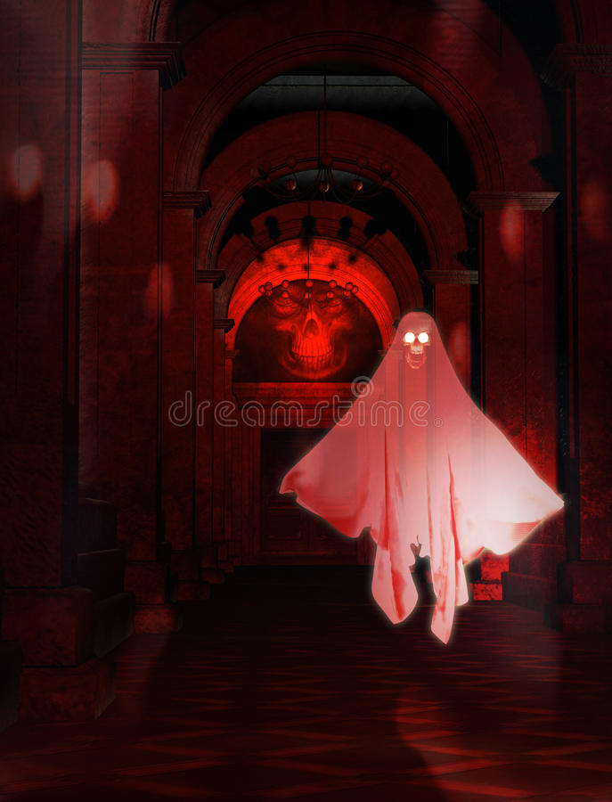 Scary Corridor with Ghost. Illustration of a scary ancient corridor with a ghost royalty free stock photo
