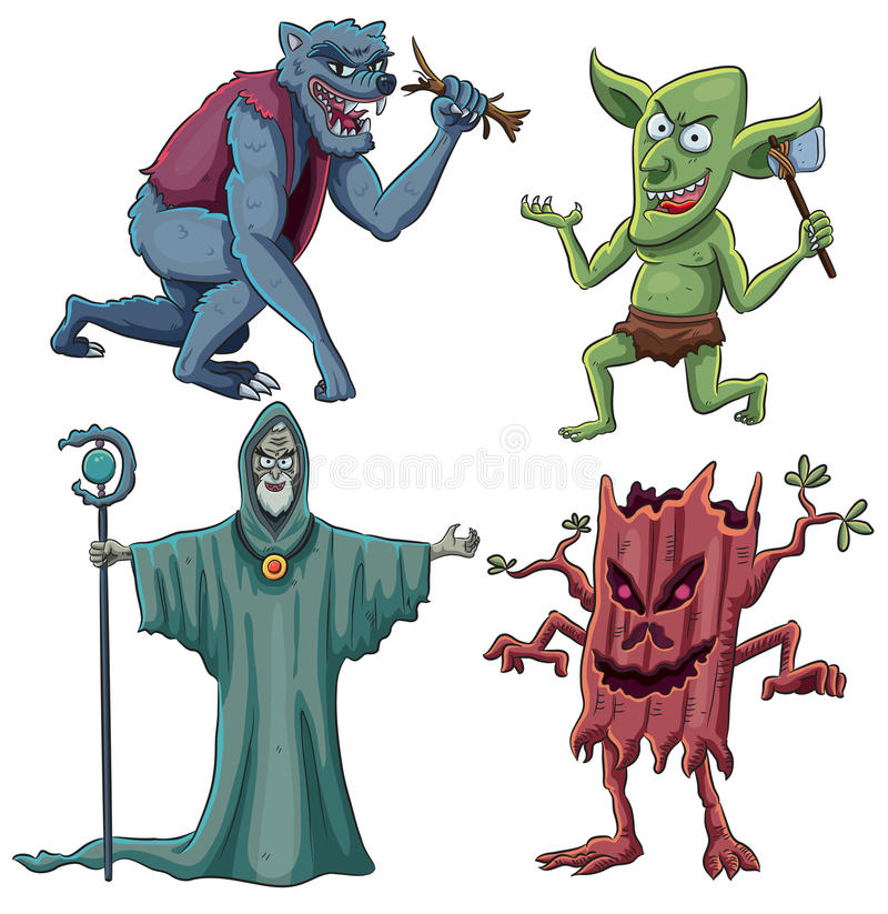 Scary Creatures. Cartoon illustration of scary creatures stock illustration
