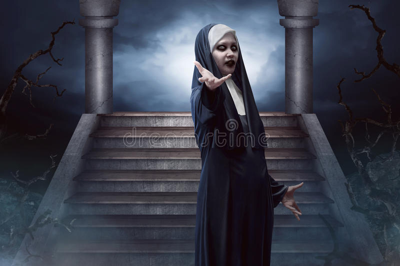Scary Devil Nun. For halloween concept image stock photography