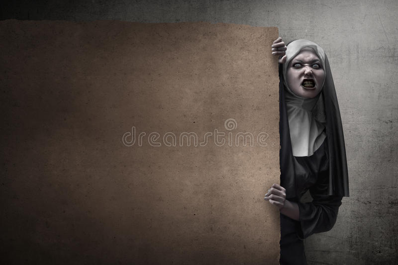 Scary Devil Nun. For halloween concept image stock photo