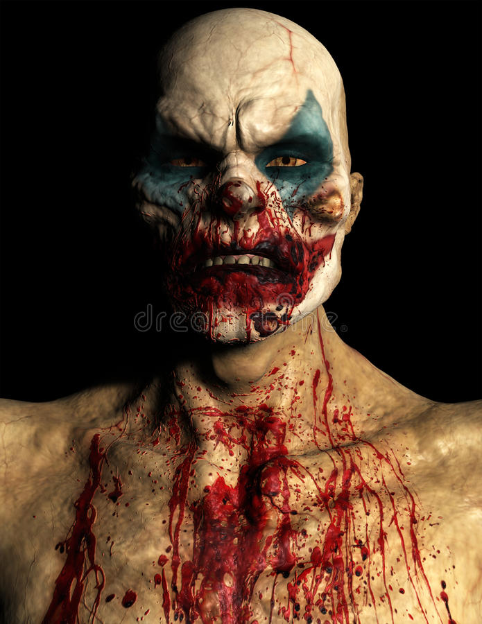Scary Evil Halloween Clown Isolated. Portrait illustration of a scary, evil, Halloween clown. Blood is everywhere on this bloody monster. Isolated on black royalty free illustration
