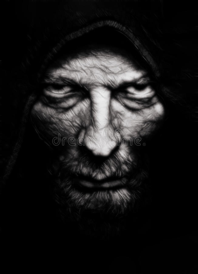 Scary evil wrinkled man royalty free stock photo