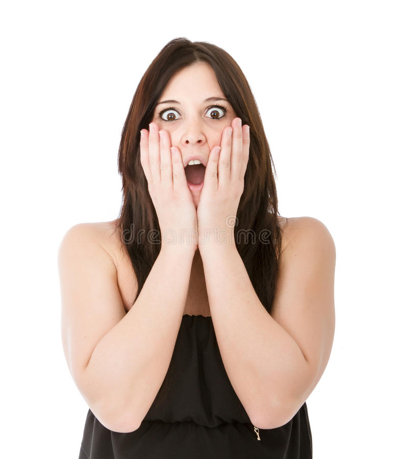 Scary expression. Woman expression in white background royalty free stock image