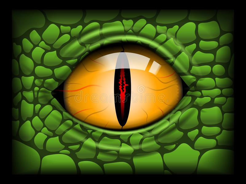 Scary Eye of a Reptile. Vector image stock image