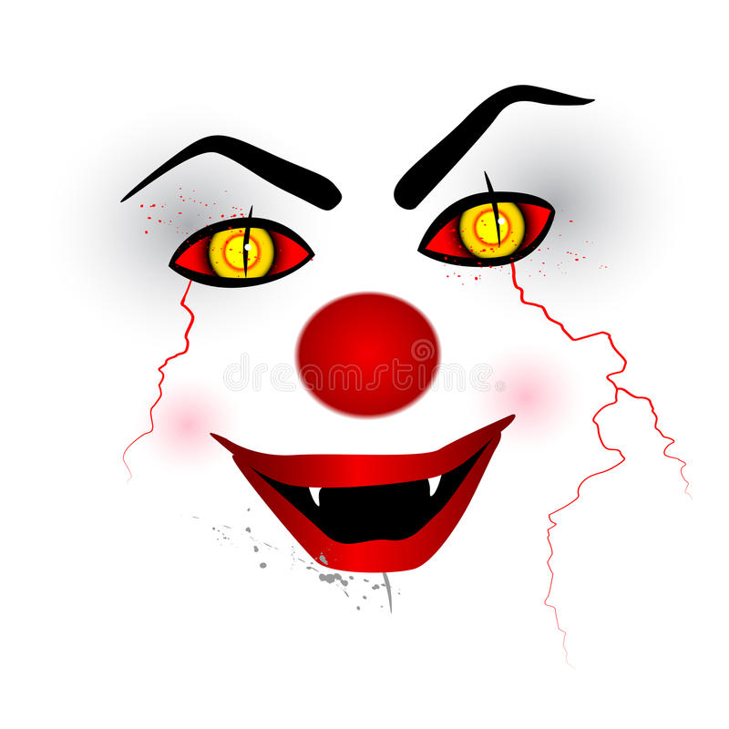 Scary face - creepy clown on the white background stock illustration