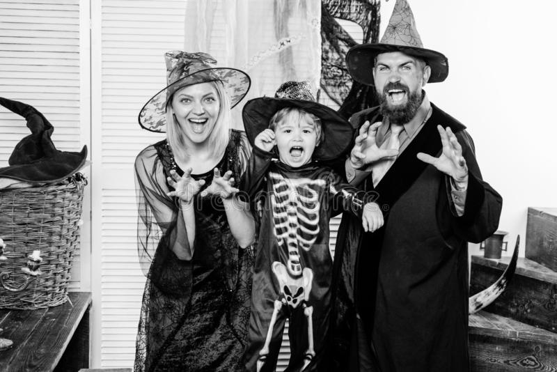 Scary face. Halloween Witch and family. Halloween decoration and scary concept. stock photo