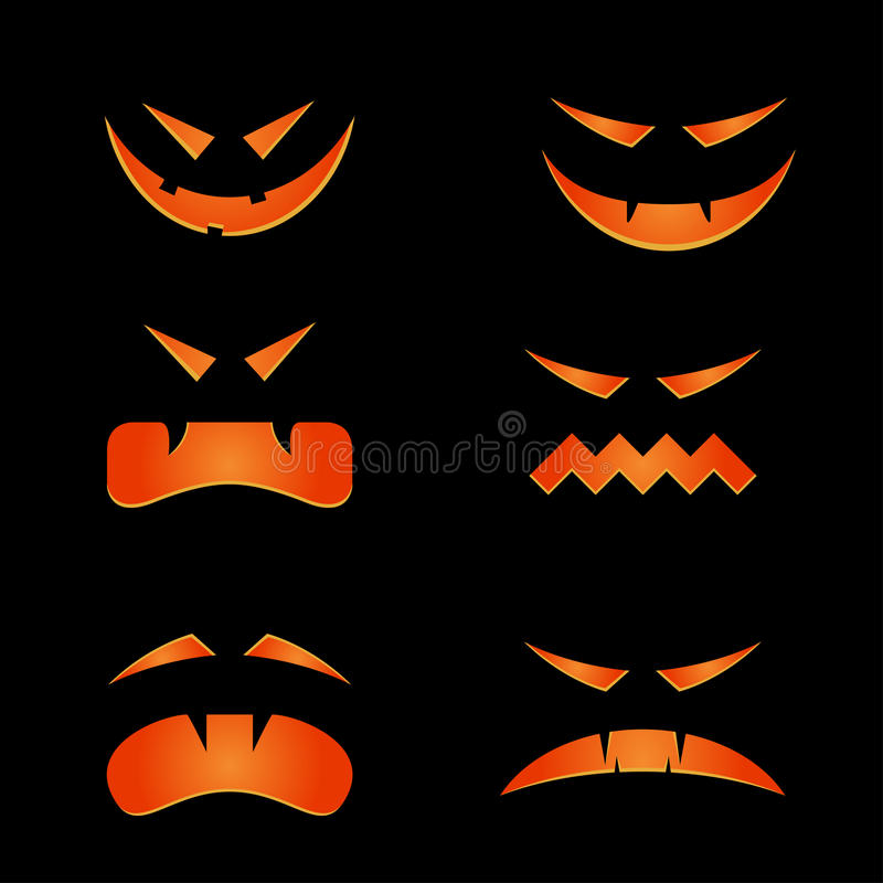 Scary faces vector illustration