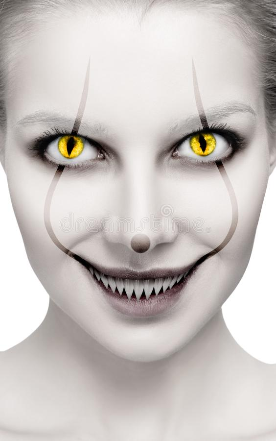 Scary female face with helloween horror grimm. Scary female face with halloween horror grimm close-up stock images