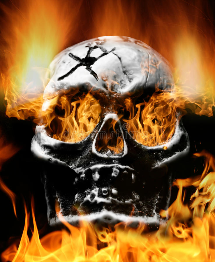 Scary flaming skull. Very scary flaming skull. Concept of horror royalty free stock photography