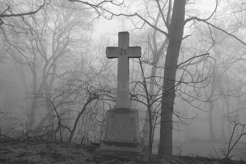 Scary foggy graveyard scene. royalty free stock photos