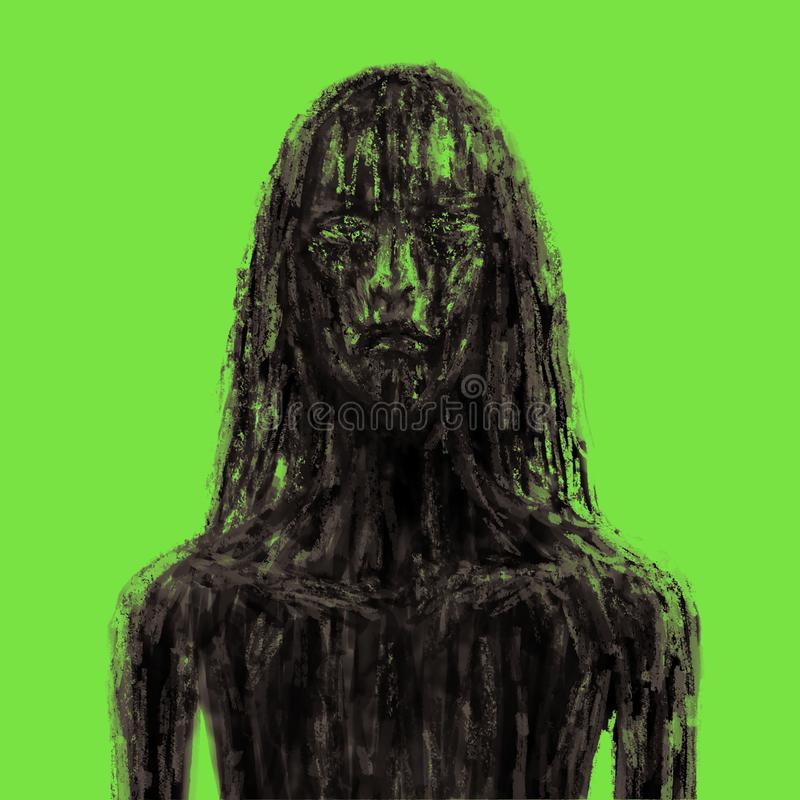 Scary forest girl in mud. Green background color vector illustration