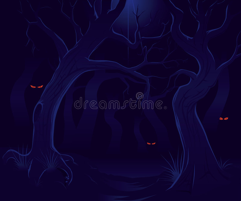 Scary forest at night stock illustration