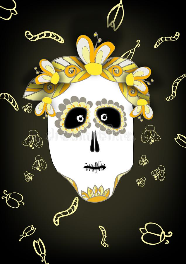 Scary and funny illustration of skull for Halloween and Dia de muerte on black background vector illustration
