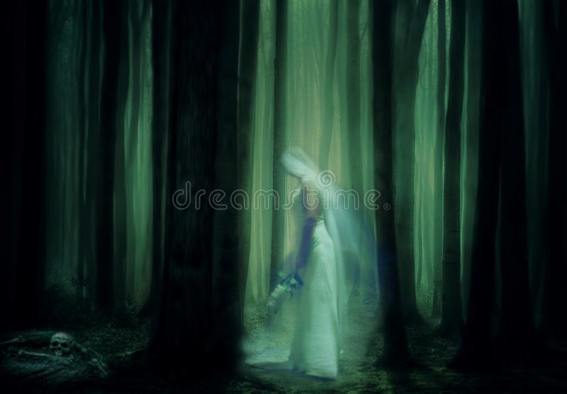 Scary ghost bride in haunted forest stock photography