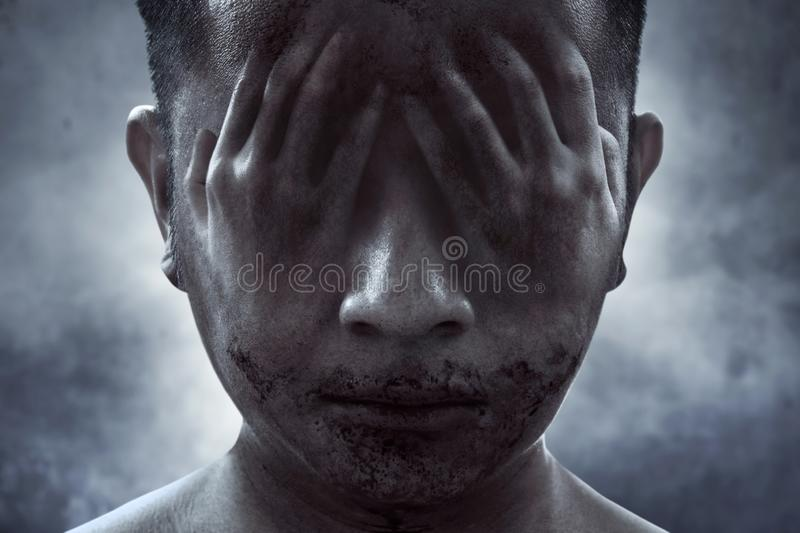 Scary ghost face, halloween theme. S stock photo