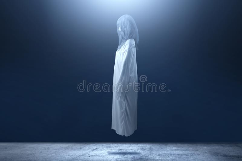 Scary ghost woman with blood and angry face haunted the dark room. Halloween concept stock images