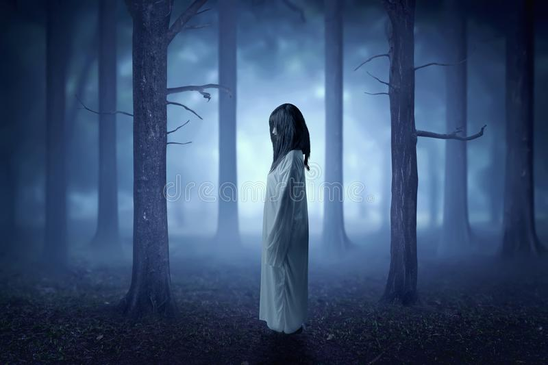 Scary ghost woman with blood and dirty face standing in the haunted forest with fog and moonlight stock photography