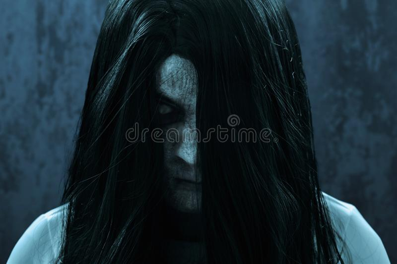 Scary ghost woman on dark background. S stock photos