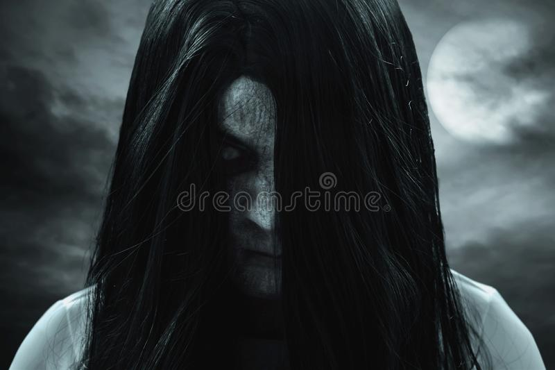 Scary ghost woman, halloween theme. S royalty free stock image
