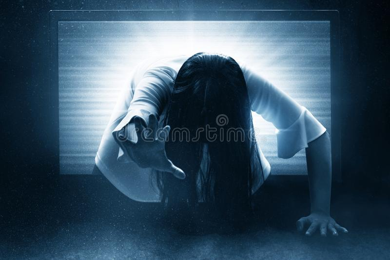 Scary ghost woman, halloween theme. S stock image