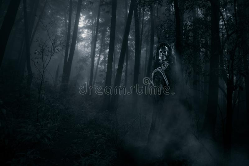 Scary ghost in the woods stock photos